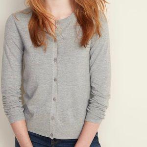 Light grey crew neck sweater cardigan
